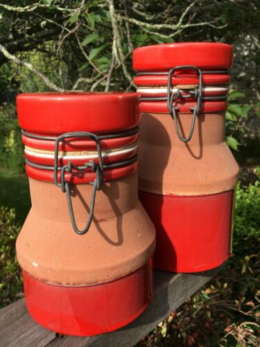 2 Vintage Retro Baldelli Pottery Canisters Jars Made In Italy Red