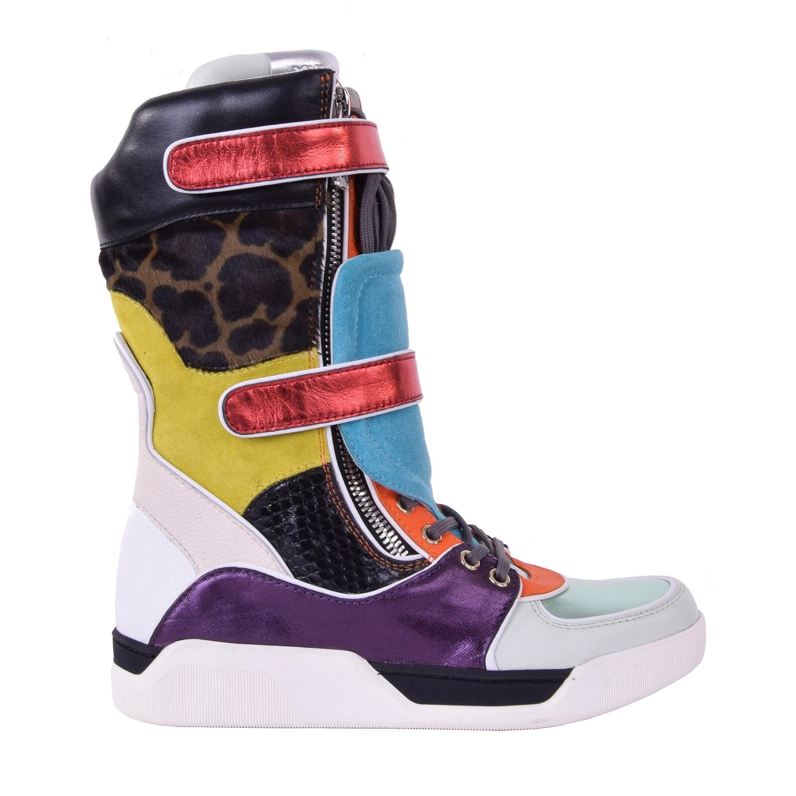 Dolce & Gabbana patchwork leo High-Top cortos botas botas negro azul 05873