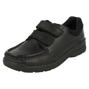 Zapatos De Niños Cuero Colegio Play Negro Correa Clarks Doble Obie 0B8n6A0