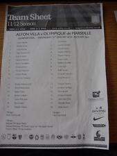 25/01/2012 Aston Villa U19 v Marseille U19 [NextGen Series] (Single Sheet, Creas