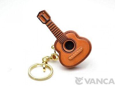 Guitar Handmade 3D Leather (L) Keychain/Keyring *VANCA* Made in Japan #56123