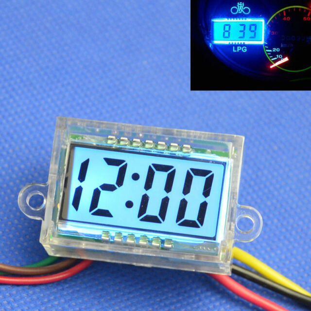 Waterproof!!! Digital Clock blue LCD Dashboard DC 12V for Motorcycle Motor light