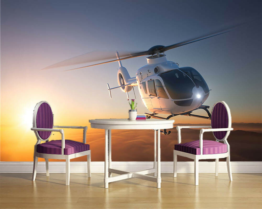 Small Helicopter 3D Full Wall Mural Photo Wallpaper Printing Home Kids Decor