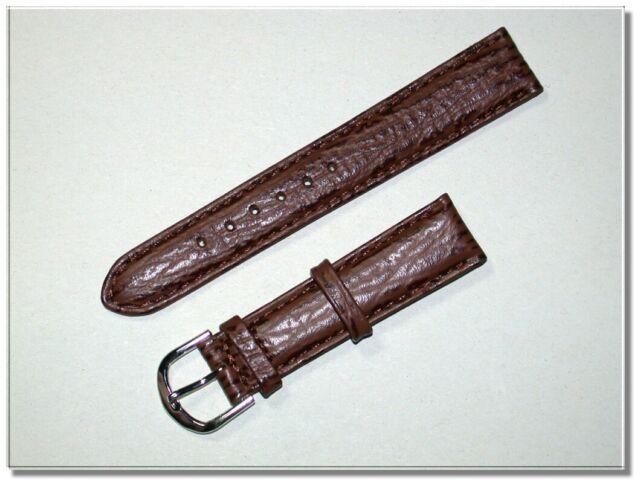 hochwertiges echt Leder Uhrenarmband braun Reptil 18mm breit  4435