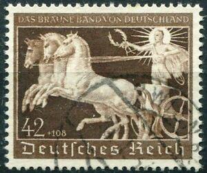 THIRD-REICH-Mi-747-scarce-used-Braunes-Band-Horse-Race-stamp-CV-42-00