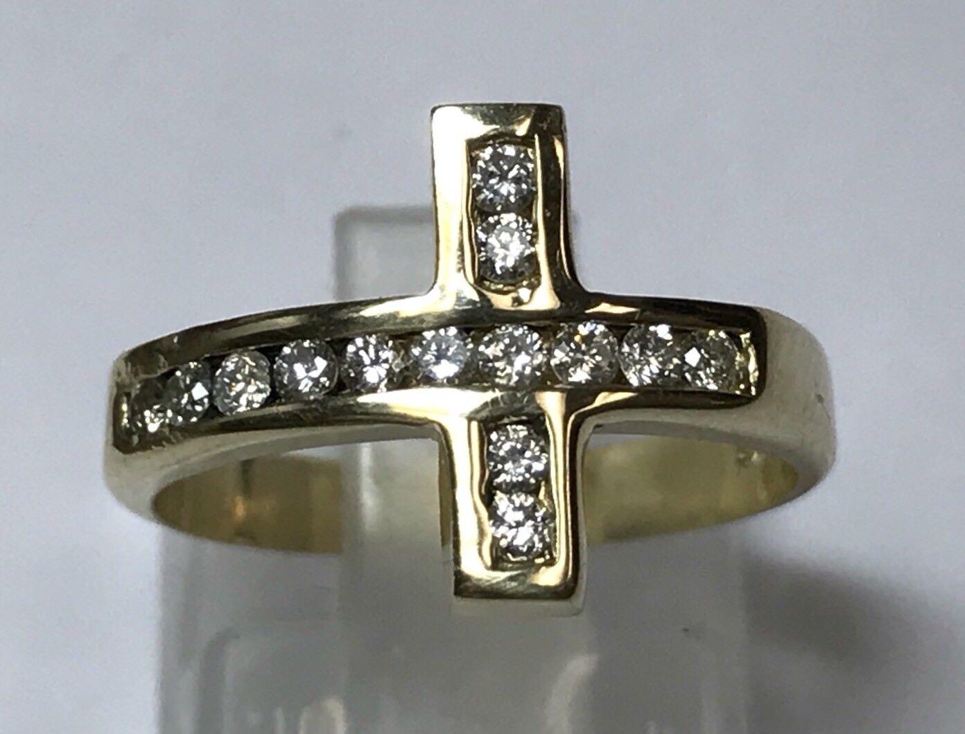 14K YELLOW gold DIAMOND CROSS RING MENS CHRISTIAN CATHOLIC UNISEX SZ 5.75
