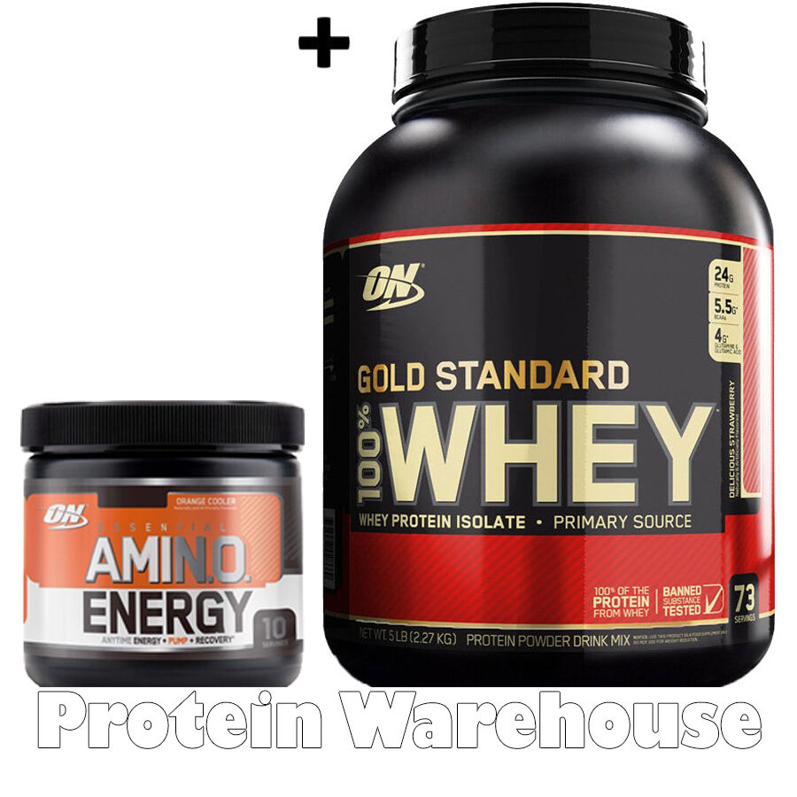 Optimum Nutrition Gold Standard 100% Whey Protein 5lb + Amino Energy 10 Servings