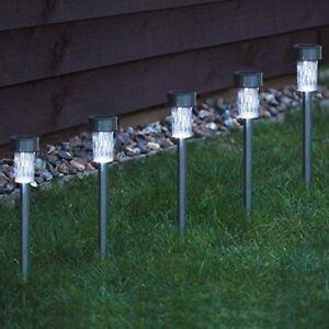 10-x-Lampe-Solaire-Acier-Inoxydable-DEL-Blanche-Post-Jeu-Lumieres-Jardin-Bordure-lanternes-UK