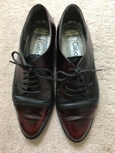 wide varieties crazy price authentic Details about Gabor International Germany Black Red Soft Leather Lace up  Loafers Shoes Sz 5.5