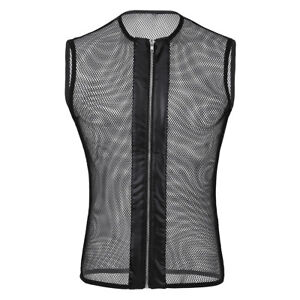 Mens-String-Mesh-Vest-Fishnet-Zipper-Gym-Breathable-Tank-Top-T-shirt-Club-wear