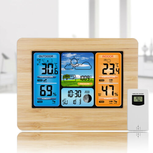 Indoor Outdoor Digital LCD Wireless Color Weather Station Calendar Thermometer