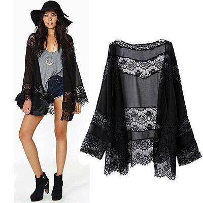 Women Lace Splicing Hollow Chiffon Kimono Cardigan Blouse Coat Tops Hoc