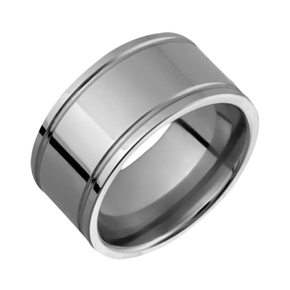 New Mens Titanium Ring 10mm Wide Engagement Band Comfort