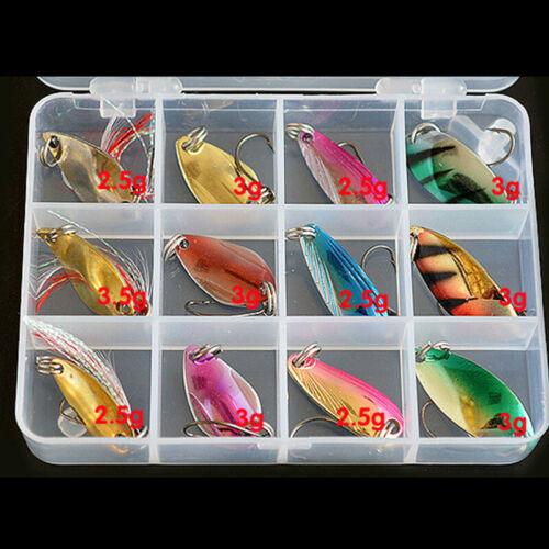 Forellenblinker Box Trout Spoon Set 12 Blinker Forelle Angeln Köder 2.5-3g!