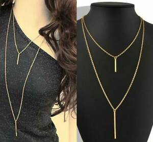 Women-Stylish-Gold-Plated-Long-Sweater-Chain-Cute-Vertical-Bar-Pendant-Necklace