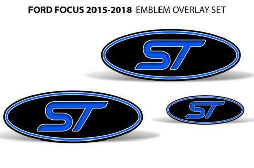 Oval Badge Emblem Logo Overlay Sticker Decals For Ford Focus ST 15-18 BLUE BLACK