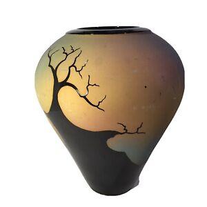 """Vintage Mid Century Large 12"""" Handmade Raku Art Pottery Vase Signed & Dated 1971"""