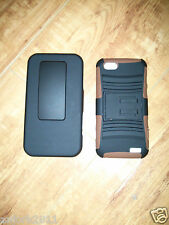 HTC ONE V HYBRID HARD CASE COVER + HOLSTER COMBO w/ SWIVEL BELT CLIP BROWN/BLACK