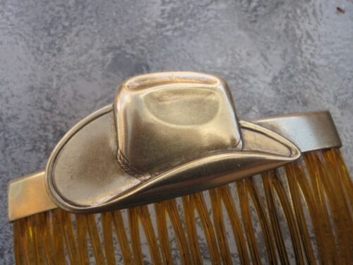 """Vintage Hair Comb Cowboy Hat Antiqued Brass Shell 2 3//4/"""" Comb  Made in USA 027"""