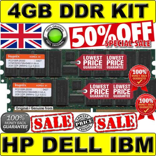 4GB KIT DELL PC2100R CL2.5 ECC DDR 266Mhz Dell PowerEdge 2600//2650 2x 2GB