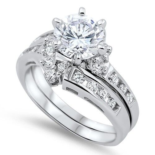 Sterling Silver Engagement Wedding Promise Ring Set Round Cut Clear CZ Sz 5-10