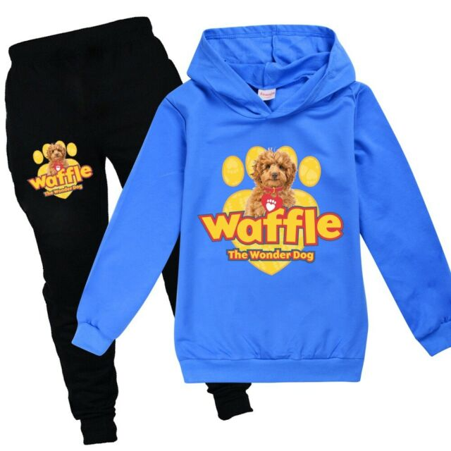 New Chlidren Waffle The Wonder Dog 2PCS Set Autumn Hoodies Hooded+Pants Trousers