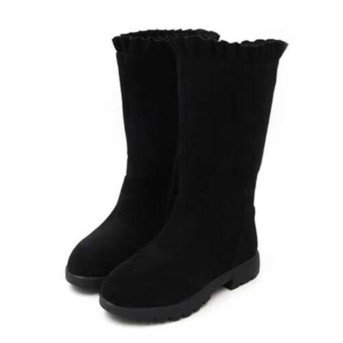 Kids Girls Flouncing Mid-Calf Boots Zipper Princess Suede School Party Shoes NEW