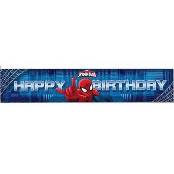Spiderman Banner licensed Happy Birthday Plastic Party Decoration New