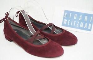 Stuart-Weitzman-Bolshoi-Crisscross-Strap-Ballet-Flats-Red-Suede-Size-US-6-M