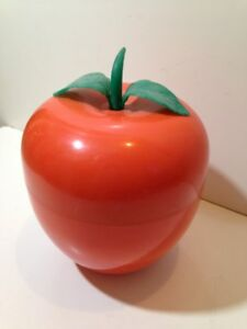 BAC-a-Glacons-Pomme-orange-avec-feuille-Seau-a-glace-an-70-039-s-nov29K