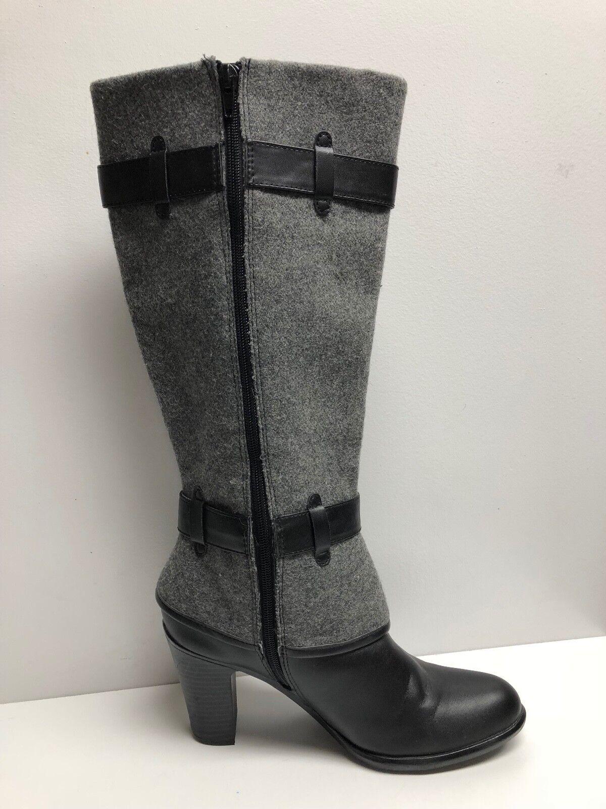 Sole Sensibility 73277 Gray Black SZ 8.5 Heels Vegan Leather Dress Boot 382343