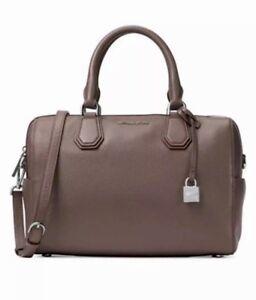 Image is loading Michael-Kors-Mercer-Purse-Medium-Leather-Duffel-Satchel- aca1ee3442