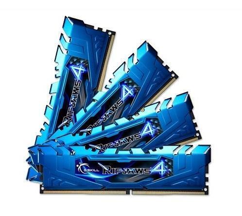 32GB G.Skill Ripjaws 4 DDR4 2400MHz PC4-19200 CL15 Quad Channel kit (4x8GB) blau