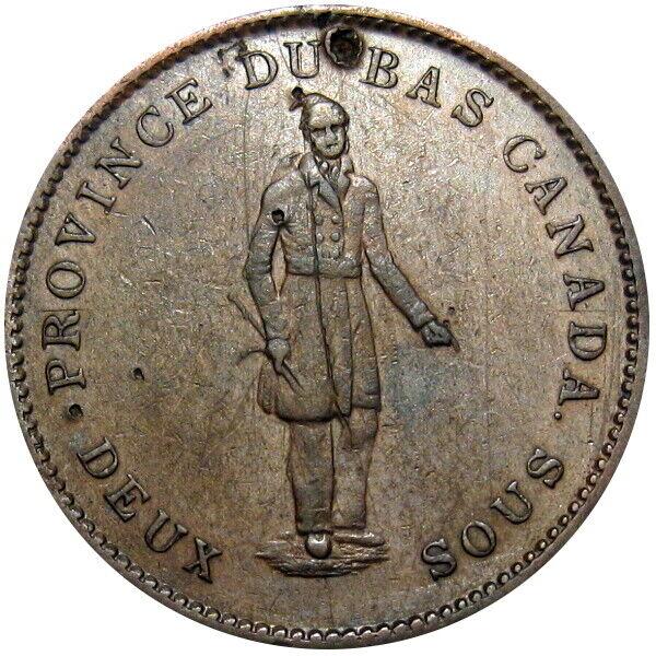 1837 Lower Canada One Penny Bank Token Habitant Breton 521