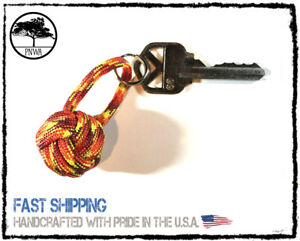 """Large Monkey Fist Neon Hot Pink Color Paracord Keychain 1/"""" Steel Ball New 1Pc"""