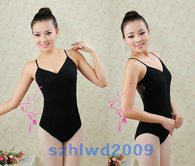 Black Ballet Gymnastic Leotards Adult Women Cotton Strappy Dance Leotard Unitard