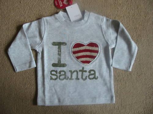 Bnwt Próxima Boys I Love Santa Navidad Top 3-6 Meses