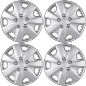 4-Pc-Set-of-15-034-Inch-Silver-Hub-Caps-Full-Lug-Skin-Rim-Cover-for-OEM-Steel-Wheel