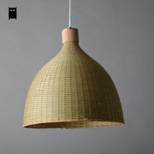 Details About Hand Woven Bamboo Rattan Round Basket Shade Pendant Light Fixture Lamp Design