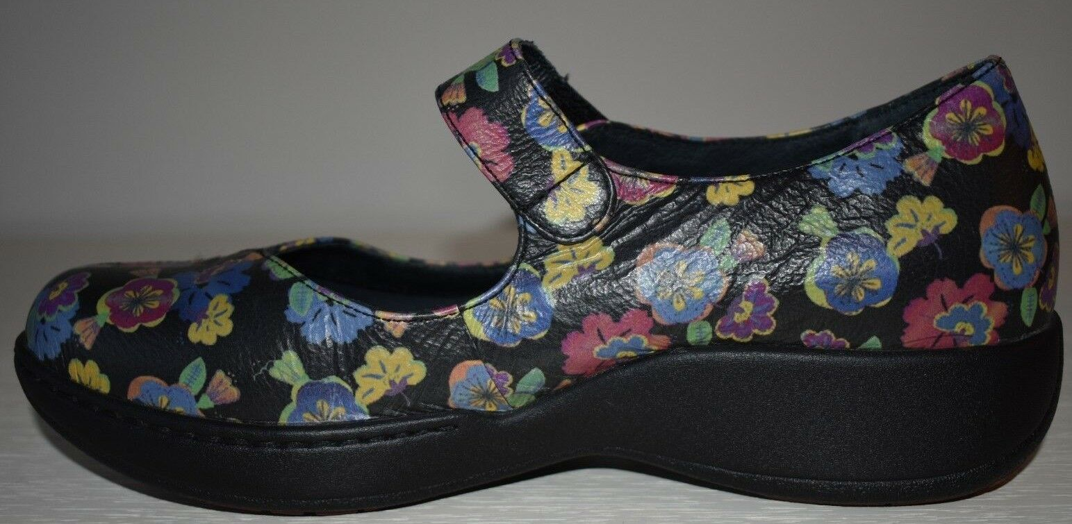 Dansko Pro Black Leather with Floral Mary Janes Size 41 10.5 Flowers