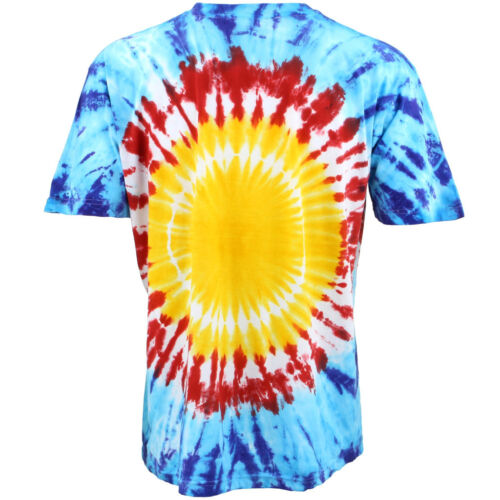 Tie-Dye T-Shirt Smile Face Top Tee Acid Rave Yellow Siesta Party