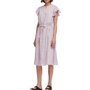 DKNY-NEW-Women-039-s-Shimmer-Stripe-Flutter-sleeve-Drawstring-Waist-Dress-TEDO