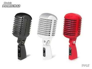 PYLE PDMICR42 Classic Retro Vintage Style Dynamic Vocal Microphone - RED, BLACK or CHROME Canada Preview