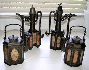 Stunning-Antique-18th-Century-Matching-Metal-Tea-Coffee-Pots-With-Deity-Panels