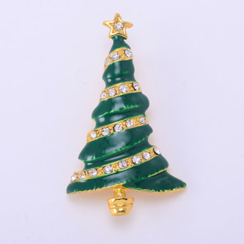 Fashion Vintage Crystal Christmas Tree Brooch Pin for Holiday Party Banquet