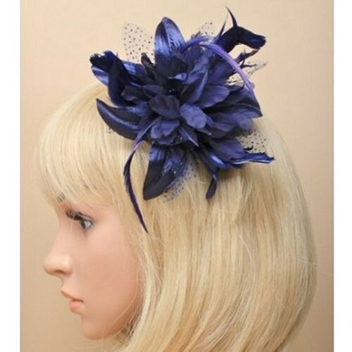 Weddings// Races// Prom Navy Blue Feather Flower Design Fascinator on Clear Comb