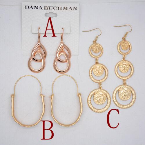 Brand New Jewelry Gold Tone Rosegold Poli Hoop Boucles d/'oreilles pendantes martelé unique