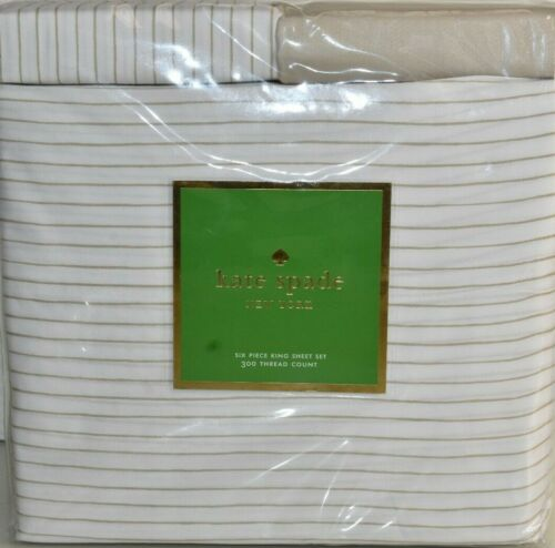 NEW Kate Spade 6 PC SHEET SET Stripe Flaxseed White Beige 4 Pillowcases KING