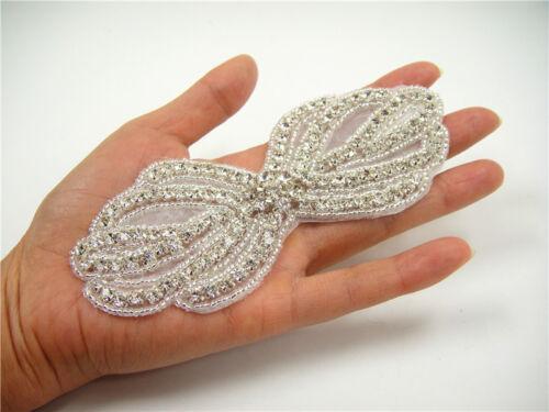Wedding Dress Applique Rhinestone Bridal Gown DIY Diamante Trim Beaded Motif