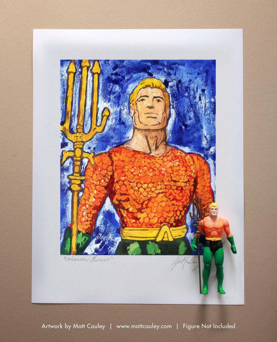 AQUAMAN Vintage Kenner Super Powers Action Figure ORIGINAL ART PRINT 1984